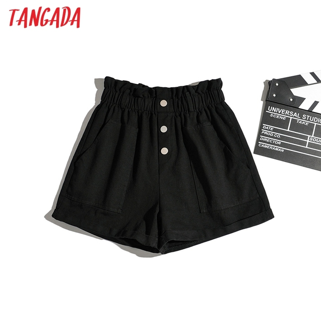 Tangada Women Cotton Shorts High Waist Buttons Pockets Female Retro Basic Casual Shorts Pantalones 1M2 2