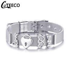 Cuteeco 10MM Adjustable Belt Buckle Chain Silver Color Pan Bracelet Women Men Mesh Net Bangle Jewelry Dropshipping