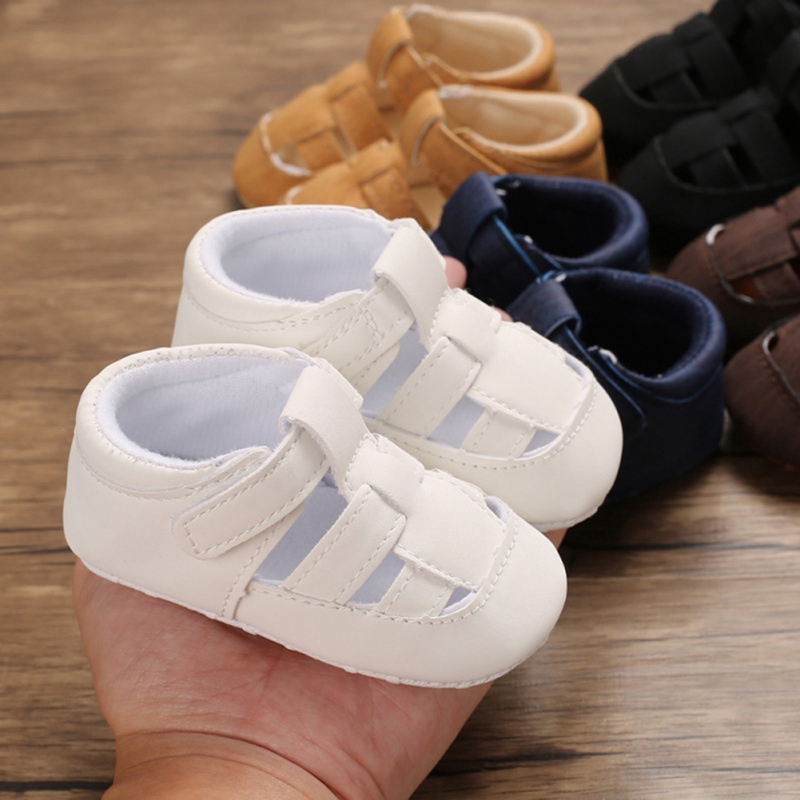 Summer Newborn Kids Baby Sandals Cute Infant Boys PU Solid Soft Sole Crib Clogs Sneakers Baby Hollow Out Sandals Shoes 8