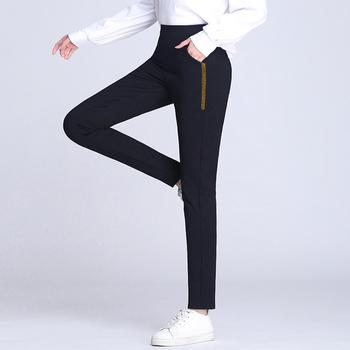 Nowa wiosna lato panie koreański OL czarne spodnie Harem oddychające boczne paski spodnie ołówkowe na co dzień prosty garnitur spodnie dla kobiet tanie i dobre opinie oumengka COTTON spandex Wiskoza Pełnej długości DYC8001 Harem spodnie Mieszkanie Laminowane Tkaniny REGULAR Elastyczny pas