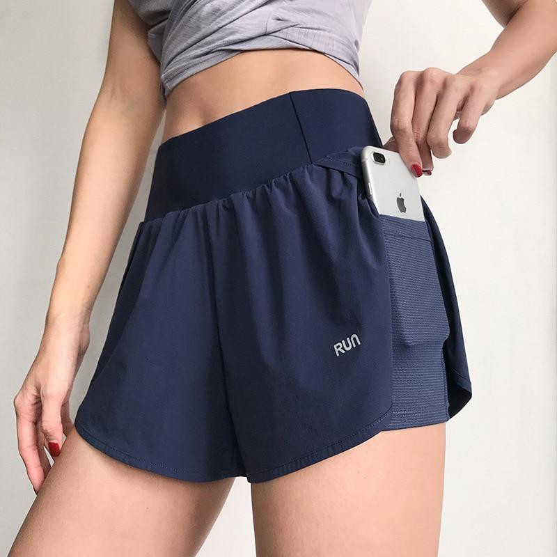 Женские беговые шорты 2 в 1 с эластичным поясом, облегающие шорты для йоги, женские спортивные брюки с карманами, шорты для тренажерного зала ...