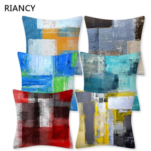 Image 1 - Colorful Painting Geometry Pattern Cushions Pillowcase Polyester Cushion Cover Throw Pillow Sofa Decoration Pillowcover 41029