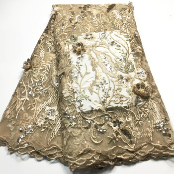 2020 High Quality French 3D Tulle Beaded African Lace Fabric Sequins Embroidered Nigerian Lace Fabrics For Wowen Dress M3550