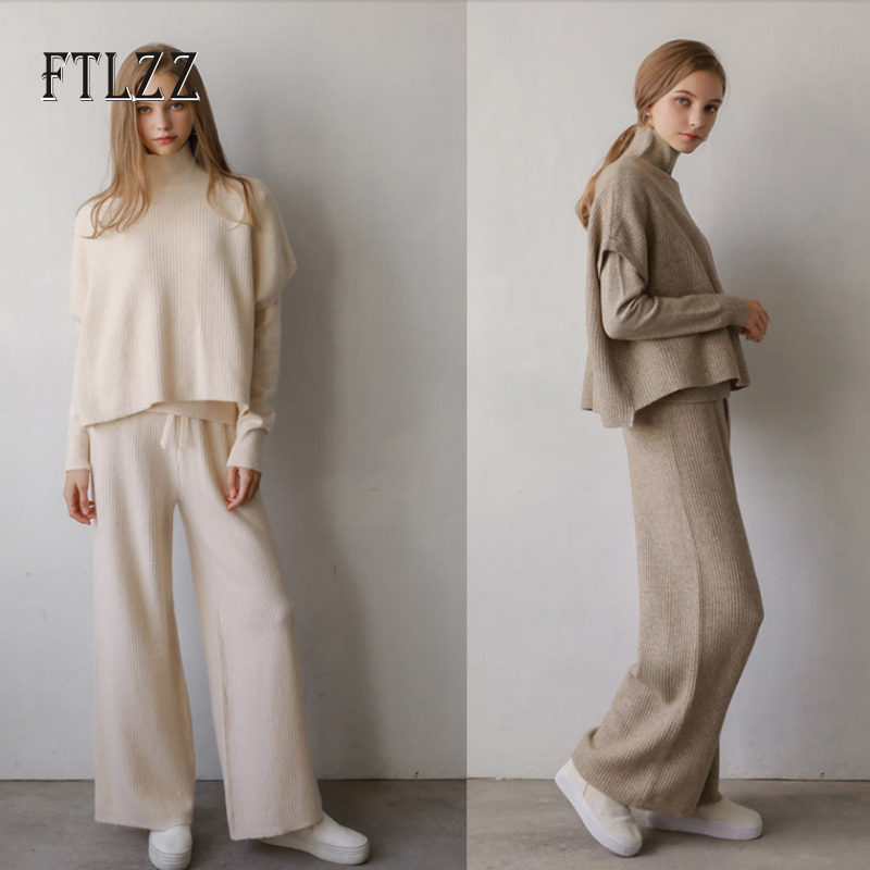 New Women 3 Piece Set Clothes Fashion Autumn Winter Knit Suits Woman Turtleneck Sweater + Straight Pants Outfit Tracksuits Sets