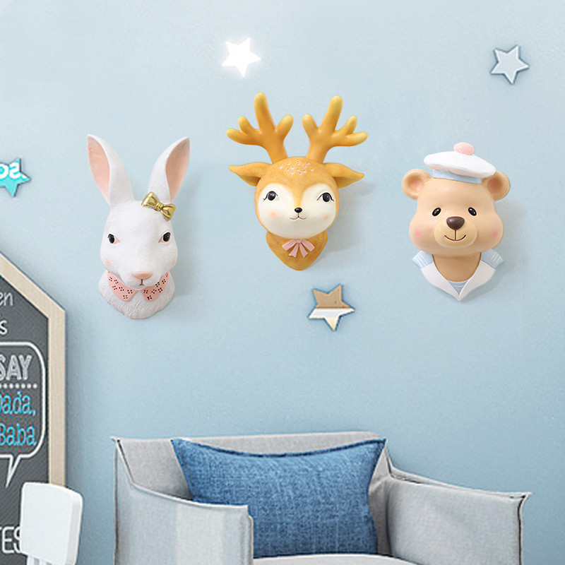 Baby Girl Room Decor Animal Head Wall Decoration For Living Room Pendant Kids Girl Childhood Bedroom Soft Install Home Decor|Peluches de pared|   - AliExpress