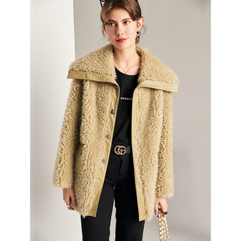 normov casual women woolen coats autumn winter turn down collar long sleeve button wide waisted coat loose solid coats 2020 Autumn/winter New Wool Fur Coat Female  Wide-waisted  Thick Warm Fur  Covered Button  Turn-down Collar  Coats for Women