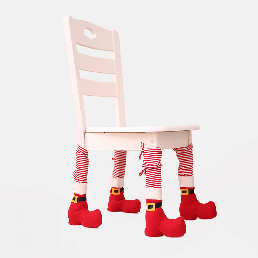 4pcs Christmas Chair Leg Cover Table Foot For Home Xmas Party Dinner Decoration