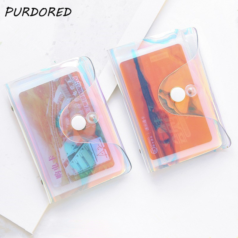 PURDORED 1 Pc Clear Laser Card Holder Unisex 20 Slots Mini Card Organizer Wallets PVC  Travel Credit Card Holder For Bank Cards