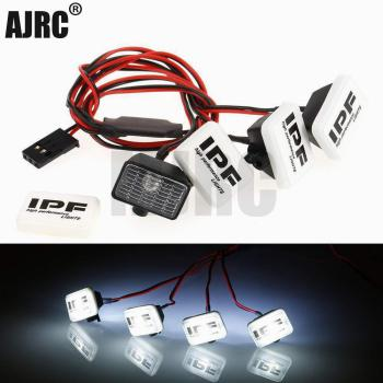 RC Car 4 Square LED Light Cover for 1:10 RC Crawler Axial SCX10 90046 Traxxas TRX4 Tamiya CC01 D90 TF2 MST HPI 90053 90028 TRX-6 rc crawler car reverse axle sets upgrade parts for 1 10 remote control axial scx10 2 ii jeep cherokee 90046 47 4wd d90 tf2 truck