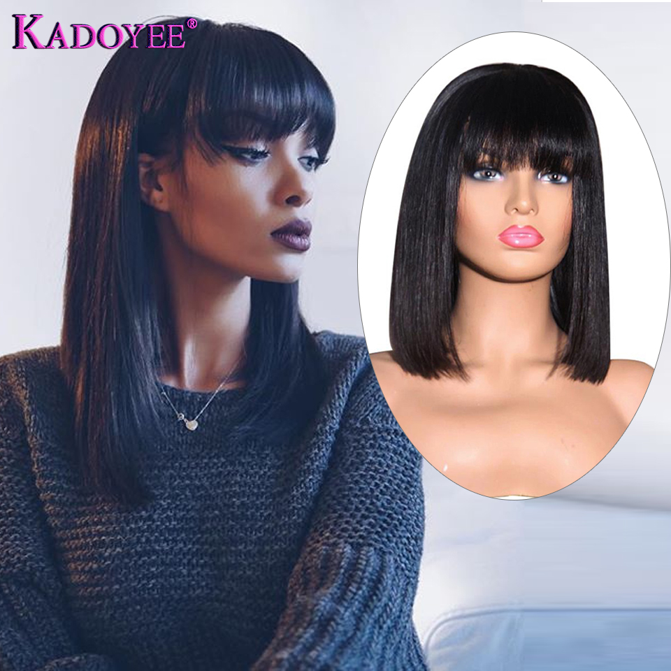 """Short Lace Front Human Hair Wigs Brazilian Remy Hair 13x4 Bob Wig With Bangs 10""""-16"""" Middle Ratio Pre Plucked  130% 150% Density"""
