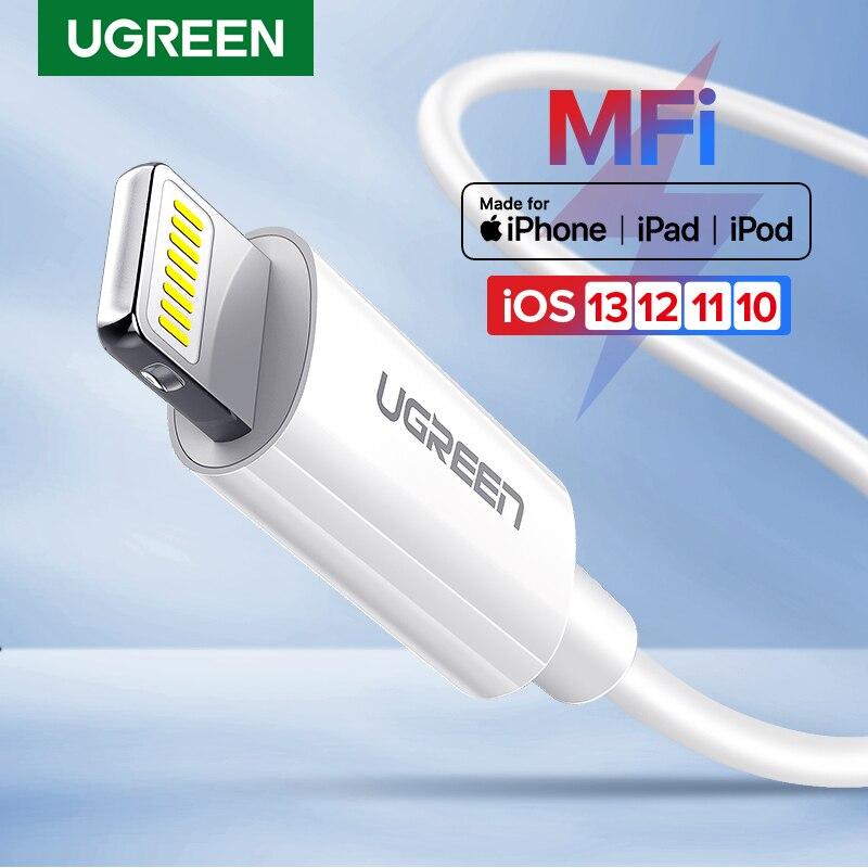 Ugreen MFi USB כבל עבור iPhone 11 X Xs מקס 2.4A מהיר טעינת USB מטען כבל נתונים עבור iPhone כבל 8 7 6 בתוספת USB תשלום כבל