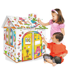 Birthday Gift New DIY Graffiti Cardboard Toy  3D Puzzle Coloring Assembled Model Kid Handmade Paper House Educational Toy