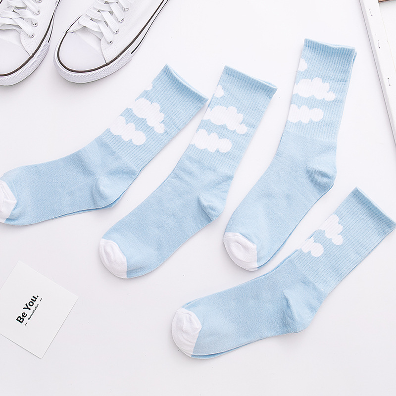 SP&CITY Women Cloud Patterned Cotton Harajuku Socks Casual Joker Heap Socks For Female Streetwear Skateboard Socks Original Tide
