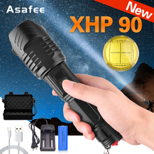 New LED Flashlight XHP90 Powerful Flashlight XHP70 26650 Zoomable Lantern Smart Chip Waterproof Bottom Outdoor Safety Hammer