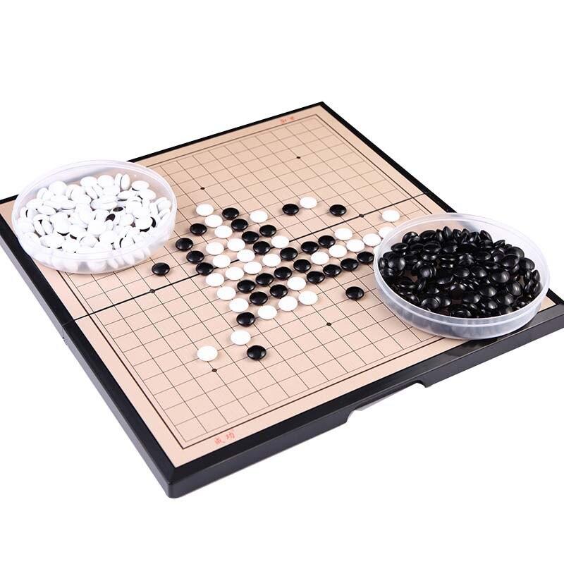 19*19 ligne magnétique aller jeu pliable Weiqi acrylique noir blanc Chessman jeu déchecs pour enfants Puzzle jeu de société déchecs jouets cadeau