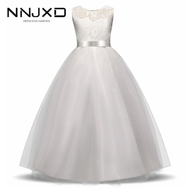 White Flower Girl Dress Kid Girls First Communion Dresses Tulle Lace Wedding Long Princess Bridesmaids Costume For Teen Girls 1