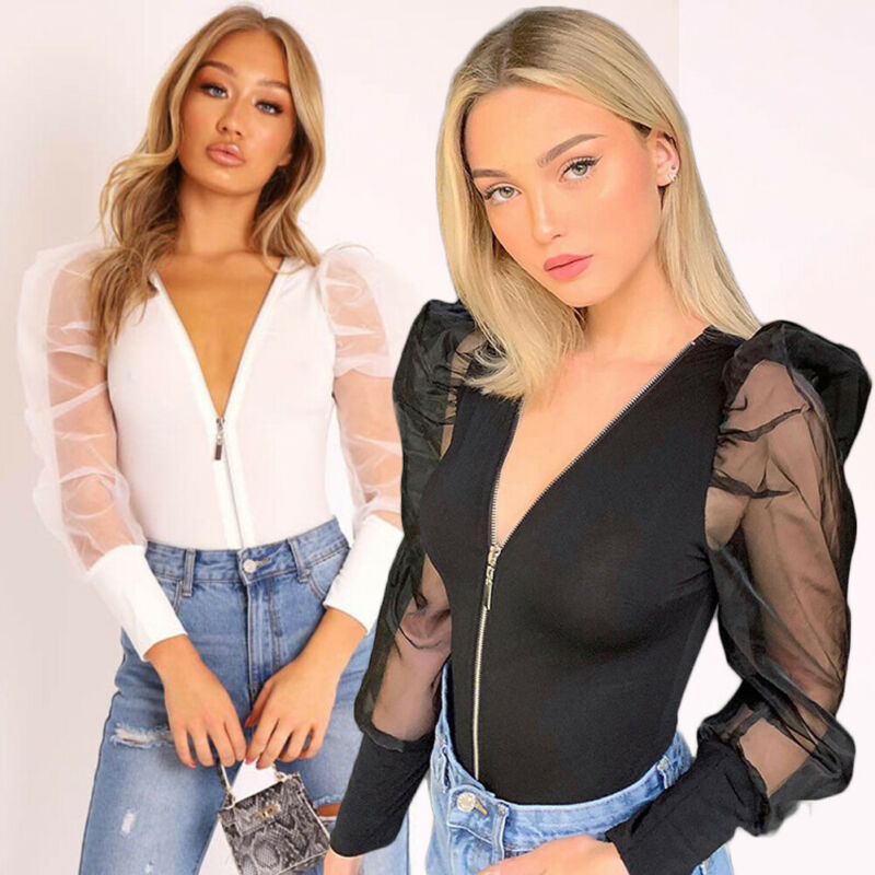 Womens Zip Up Bodysuit Puff Sleeve Jumpsuit Sexy V Neck Ladies Mesh Sleeve Top Feamle Sexy Ruffles Playsuit
