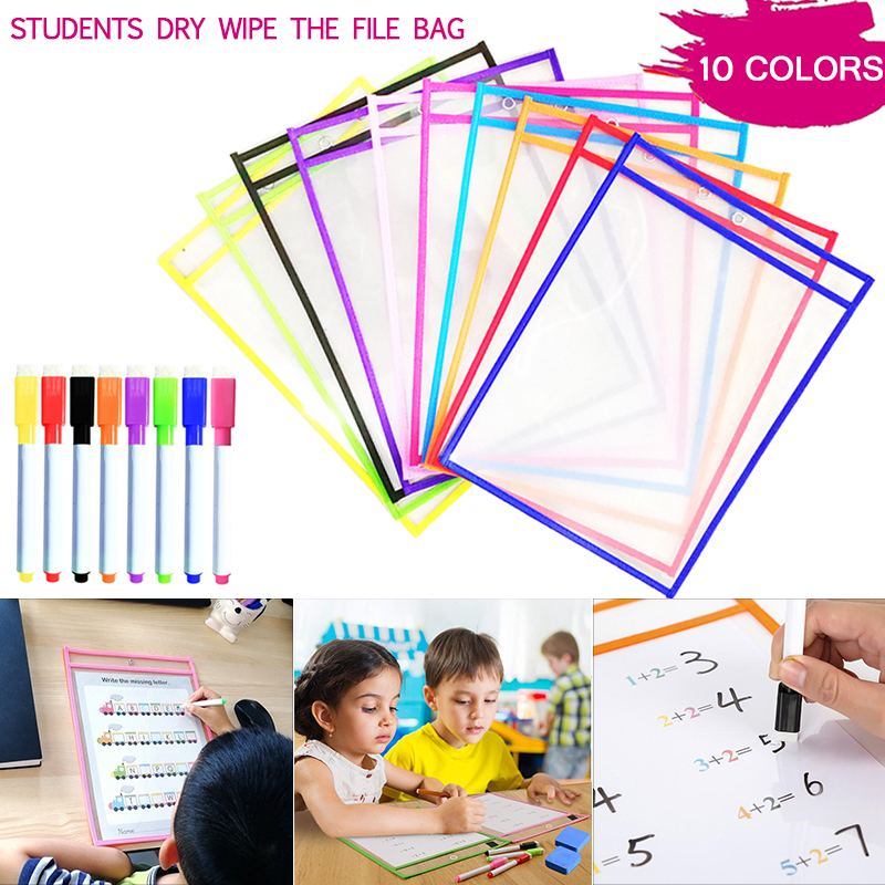 Dry Erase Pockets Board Reusable Soft Transparent Write And Wipe Drawing Writing Practice Whiteboard