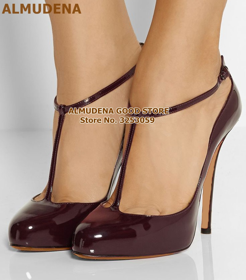 ALMUDENA Burgundy Patent Leather Mary Jane Shoes Stiletto Heels T-strap Buckle Wedding Pumps Wine Red Mirror Leather Party Shoes