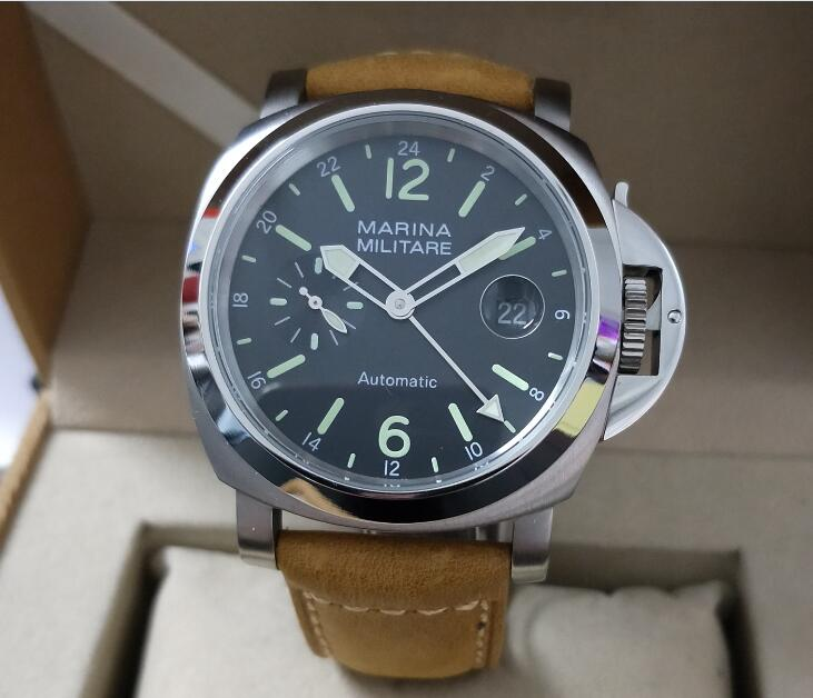 44mm Stainless Steel Watch Automatic Movement GMT Men's Watch Black Dial Green Number Green Luminous