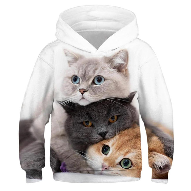 Cute Cat Hoodies For Teen Girls 3D Printed Kids Animal Pullover Children Sweatshirt For Boys Casual Pocket Hoodie Outwear