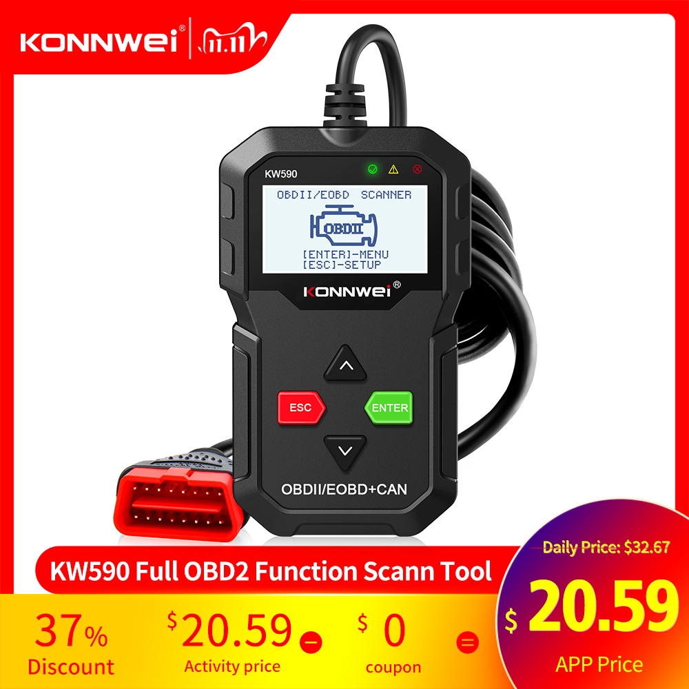 2020 OBD Diagnostic Tool KONNWEI KW590 Car Code Reader automotive OBD2 Scanner Support Multi-Brands Cars amp languages Free Shipping