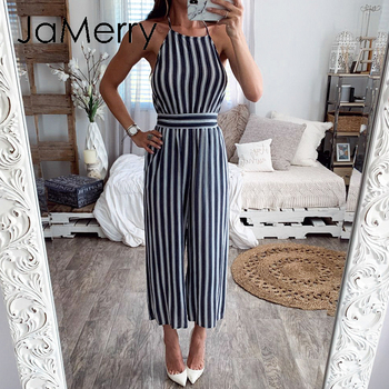 JaMerry Bohemian striped women jumpsuit romper Lace up backless female chiffon jumpsuits Elegant spring summer ladies overalls