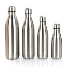 Нержавеющая сталь Спортивная бутылка для воды изолированный термос один Слои горячей и холодной воды Кола бутылка воды фляга 350/500/750 мл