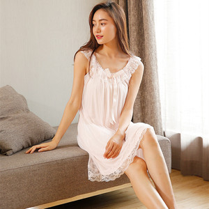 Image 1 - 2020 New Sleeveless Womens Nightgown Sexy Sleepwear Cotton Night Dress White Princess Nightgown Sleepwear Plus Size S XL E1234
