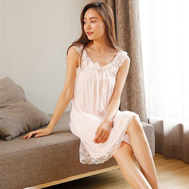 2020 New Sleeveless Womens Nightgown Sexy Sleepwear Cotton Night Dress White Princess Nightgown Sleepwear Plus Size S XL E1234