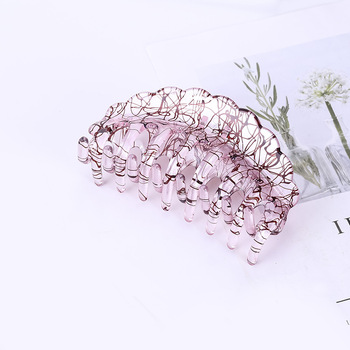 9.5CM Crabs For Hair Transparent Plastic Claw Clips Reverse Wire Drawing Thickness Accessories Ponytail  Hairpin