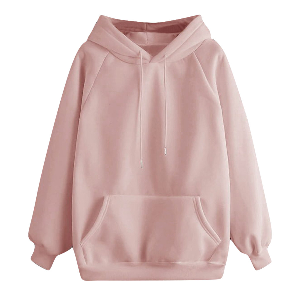 Women Hoodies Fall 2020 Casual Solid Color Hoodie Pocket Long Sleeve Pullover Sweatshirt Pastel Clothes Bluzy Damskie Z Kapturem