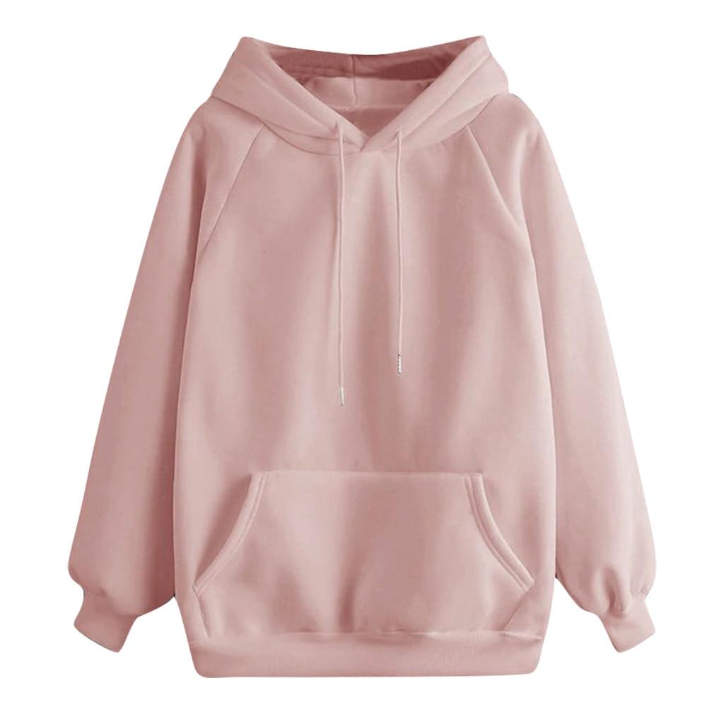 Women Hoodies Fall 2019 Casual Solid Color Hoodie Pocket Long Sleeve Pullover Sweatshirt Pastel Clothes Bluzy Damskie Z Kapturem
