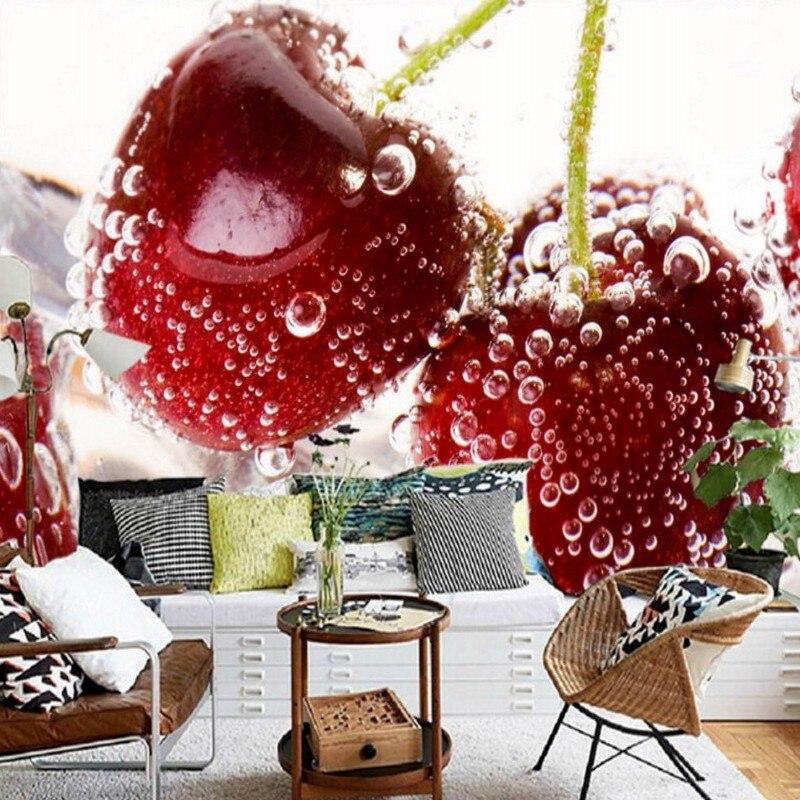 Papier peint 3d personnalisé HD 3D stéréo cerise fraise murale TV fond mur fruits boutique centre commercial salon Restaurant fond d'écran