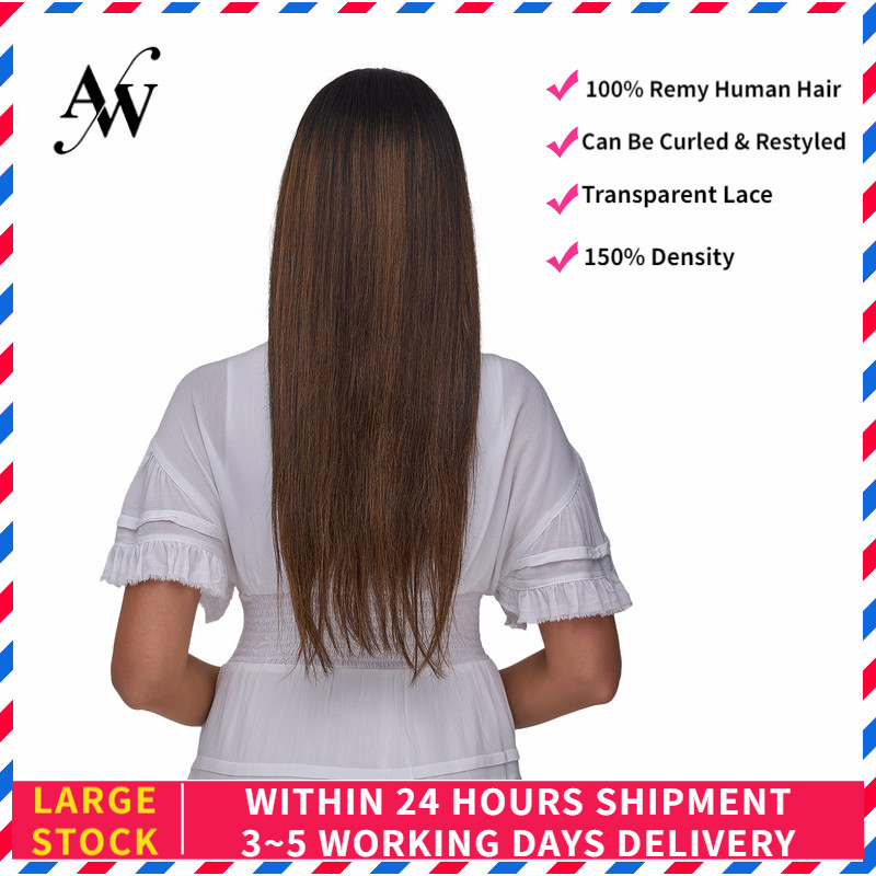 AW 20'' HD Transparent Lace Frontal Wigs Straight Pre Plucked Hairline Remy Human Hair Wig For Women 150% Density Chocolate