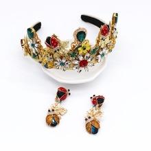 Baroque Headband The Wonderful Beetle Hair Accessories Pearl Crown Tiara Crystal Jewelry Hairband Bands for Women Earring