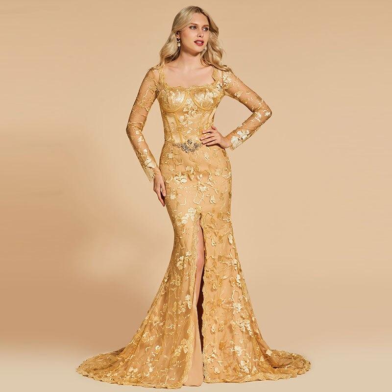 Tanpell Elegant Evening Dress Square Neck Long Sleeves Appliques Zipper up Floor Length Mermaid