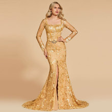 Tanpell Elegant Evening Dress Square Neck Long Sleeves Appliques Zipper up Floor Length Mermaid
