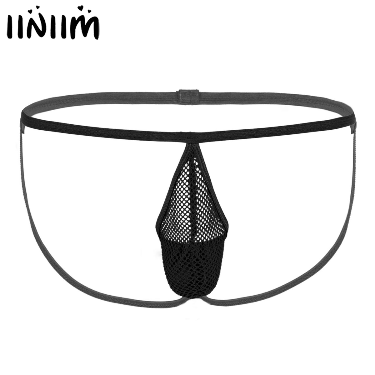 Mens Jockstrap Panties Hot Transparent Fishnet Lingerie Sissy Sexy Crotchless T-Back Tanga Thong Gay Mini G-String Bikini Briefs