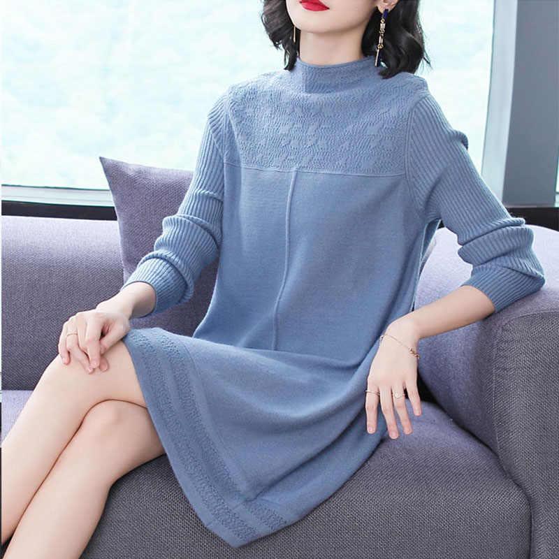 WYWAN 2019, осенне-зимние женские свитера, платья с круглым вырезом, минималистичные топы, модные корейские стильные вязаные повседневные однотонные платья
