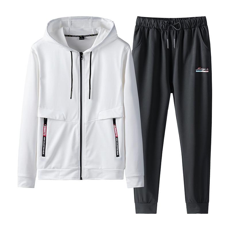 New Arrival Men's Sets Spring Autumn Hoodies Two Piece Sweatshirt+Pants Male Sportswear Suit Casual Tracksuit Plus Size 7XL 8XL