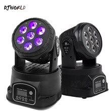 Djworld-Luz LED de lavado RGBWA + UV 6 en 1, 7x18W, luz con cabezal móvil para escenario, DMX, DJ, club nocturno, fiesta, concierto, escenario profesional