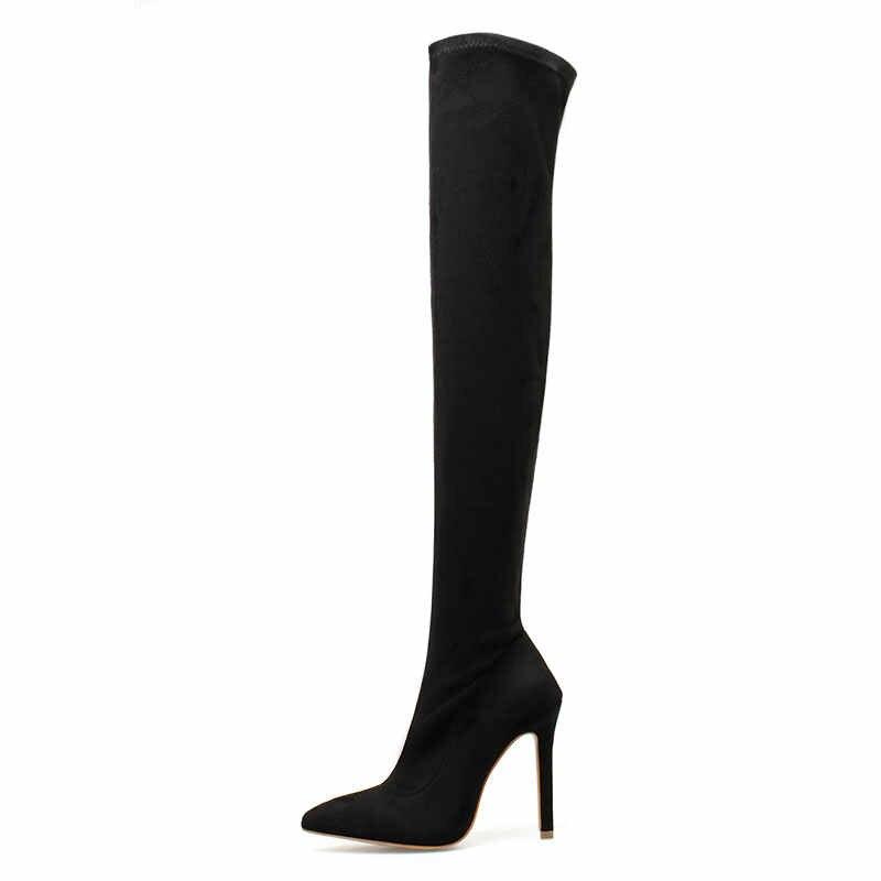 Elisabet Tang cuissardes minces nouvelles bottes au-dessus du genou 2019 femmes bottes genou-bottes hautes femme chaussures d'hiver chaud femmes chaussure