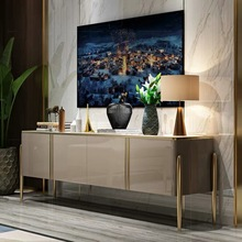 Light Cabinet Sideboard Centre-Table Tv-Stand Marble Black White Luxury with Golden-Legs