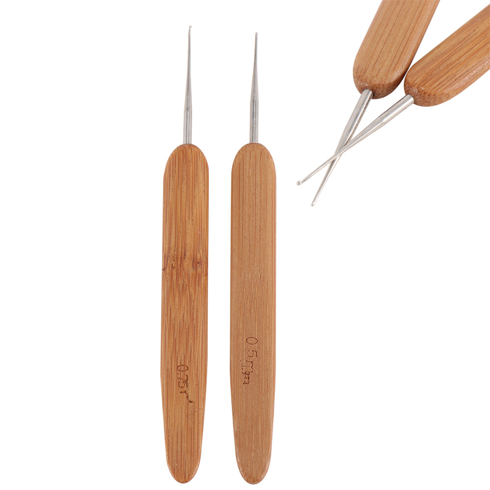 1PC Stainless Steel One Head Crochet Needle Hooks For Dreadlock Braiding Hair Making Bamboo Handle Yarn Sewing Tools 0.5/0.75mm