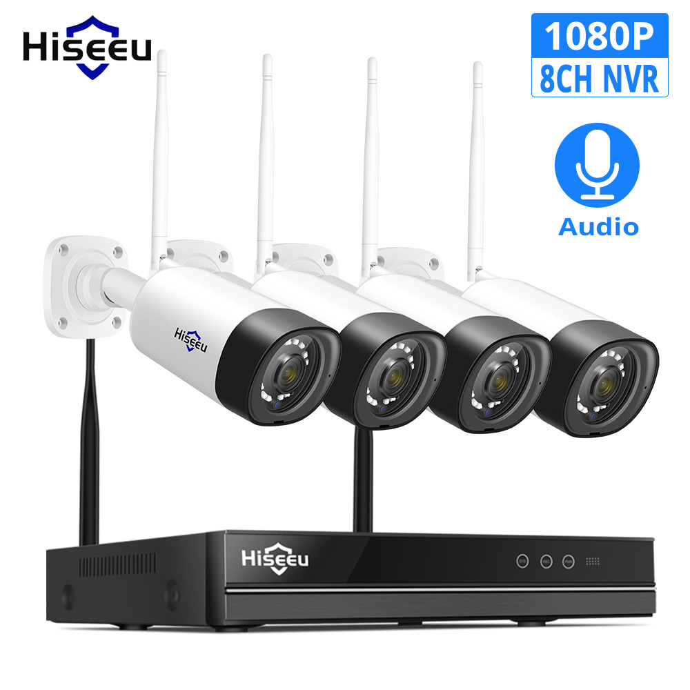 Hiseeu 8CH 1080P Wireless NVR Kit CCTV Security Camera System 2mp Audio Sound CCTV IP Camera Waterproof Video Surveillance Set
