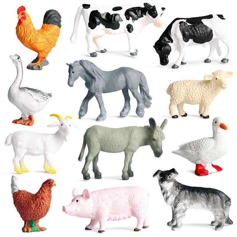 Simulation Poultry Animals Pig Cow Hen 12PCS/Set Small Size PVC Model Miniature Farm Cock Goose Action Figures Toy For Kids Gift