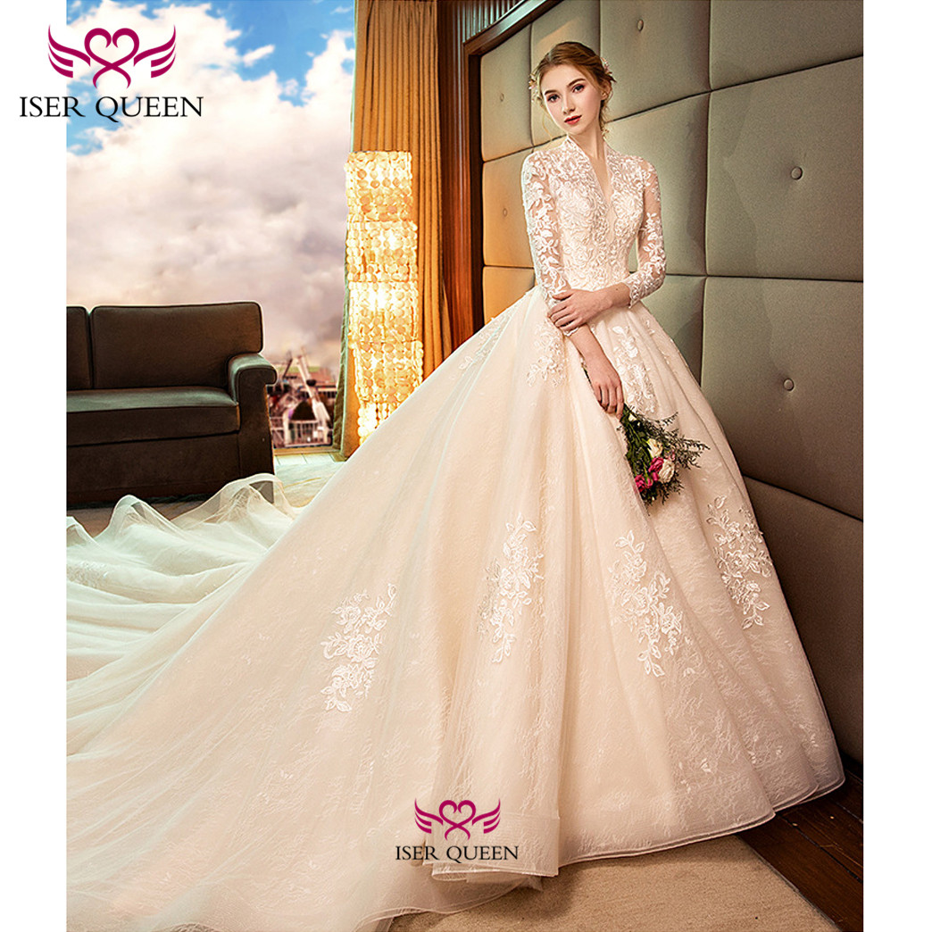 Luxury Half Sleeves With Embroidery Ball Gown Wedding Dresses Lace Up Princess Stylish Champagne Chapel Train Vestido  WX0146