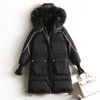 Produce direct sales 2019 winter black thin cotton jacket large fur collar 100 kg can wear
