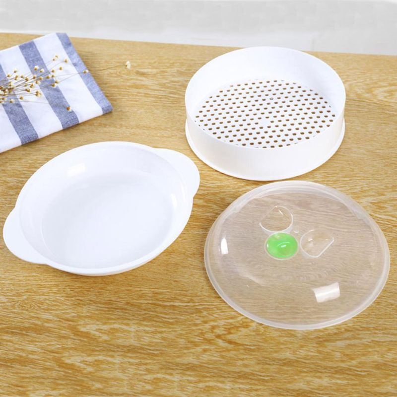 Single Layer Plastic Steamer Microwave Oven Steamer Round